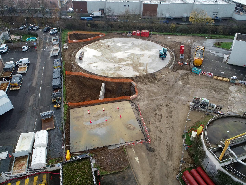 ZONE BASSIN D'ORAGE<br />Zone prête pour réception des matériel de réalisation de la paroi moulée